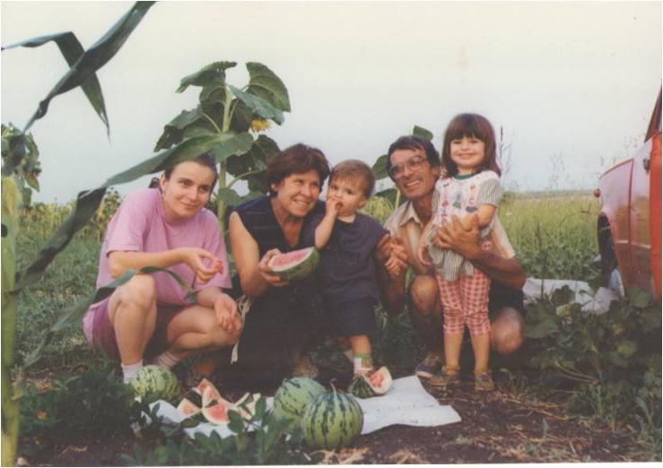 My bicultural family (my mother Zuzana, grandmother Atanaska, brother Valentine, grandfather Tenco and me; Bulgaria, 1999)