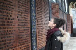 Names of dead soldiers of the Austrian-Hungarian Empire on wooden walls in Javorca (Photo Tina Gotthardt)