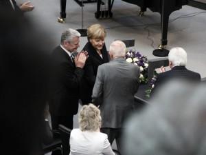 German Chanellor Angela Merkel and German Federal President Joachim Gauck with Alfred Grosser
