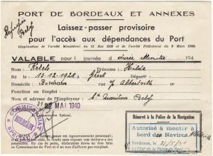 Hilda Ketels' landing permission for Bordeaux. Credit: Private