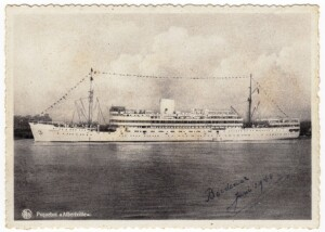 A postcard with the Albertville. The date of arriving in Bordeaux is noted. Credit: Private