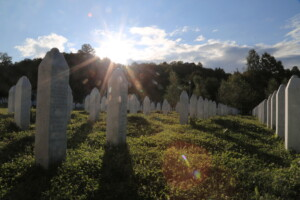 The gravestones of thousands of victims at the Srebrenica genocide memorial.