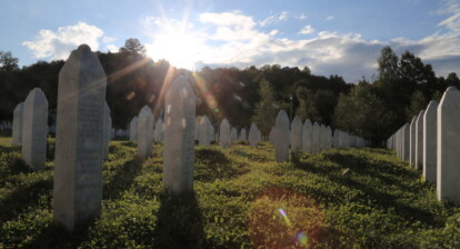 Gravestones of thousands of victims at the Srebrenica genocide memorial