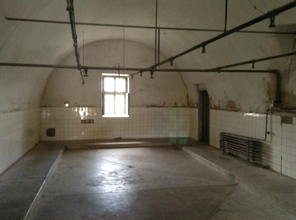 A shower room in Terezín Camp where around 100 people had to shower simultaneously. (Photo: Robert Desmond/London to Auschwitz/dezco.co.uk)