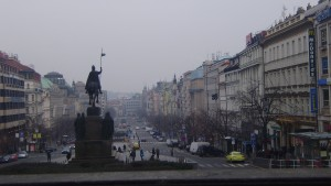 The first views of Prague: foggy but pretty.