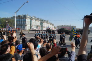 Marching soldiers and cheering crowds. The Victory Parade of 9th May in St. Petersburg, (c) Daniela Brandt