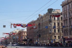 The decorated Nevsky Prospekt moments before the parade. (c) Daniela Brandt