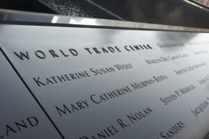 A section of the 9/11 Memorial lists those who lost their lives in the World Trade Center attacks. (Photo: Wikicommons/Jeremy Bennett)