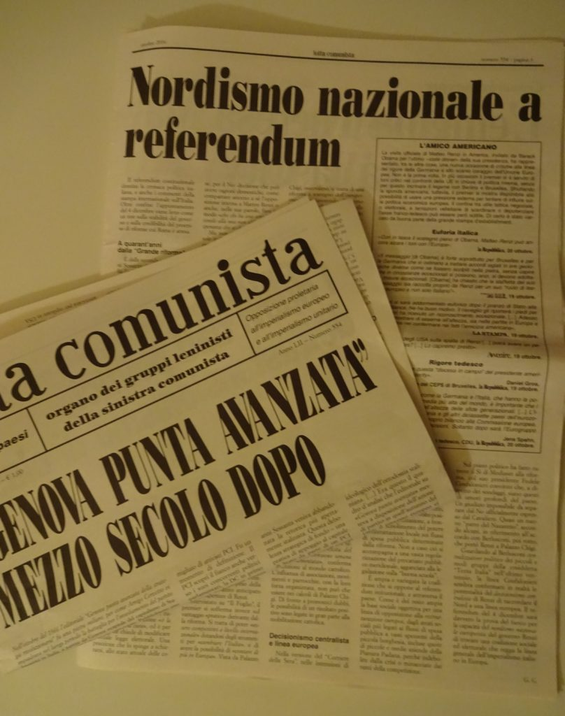 Not only the extreme left and right are fighting for a 'No'. Here an report in Italians 'Lotta Communista'. (Foto: Gregor Christiansmeyer)