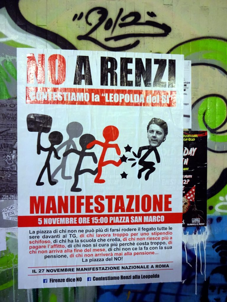 Activists are calling PM Renzi to leave his office facing the referendum. (Foto: Gregor Christiansmeyer)