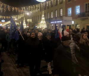 Citizens protesting in Warsaw.