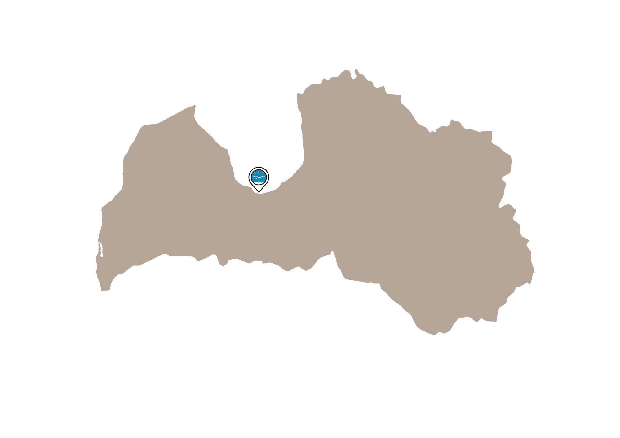 Location of Jūrmala within Latvia.