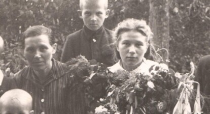 three boys and a girl in formal attire