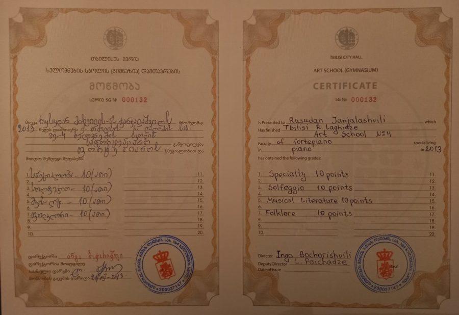 Art School graduation certificate