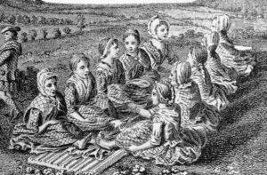 Scotswomen waulking cloth and singing in Gaelic